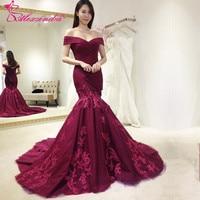 Alexzendra Burgundy Mermaid Off The Shoulder V Neck Long Evening Dress Prom Dresses Plus Size Special