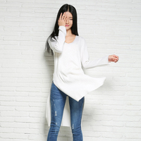 2019 spring women's new cashmere pullover sweater long solid color knitted sweater white black Casual V neck tops long sleeve