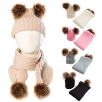 Baby Knitted Warm Hats Scarfs Winter Fur Ball Boy Girl Beanie Cap Infant Knitted Hat Set W30