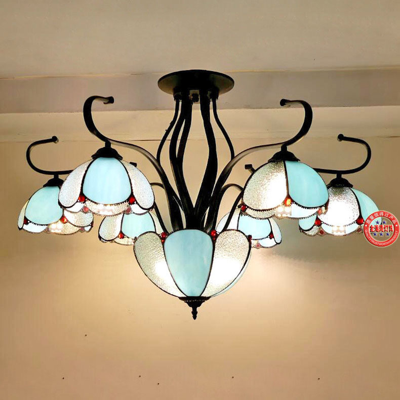 European creative painted glass chandelier living room Cafe Mediterranean idyllic LED flower glass chandelier|Pendant Lights| |  - title=