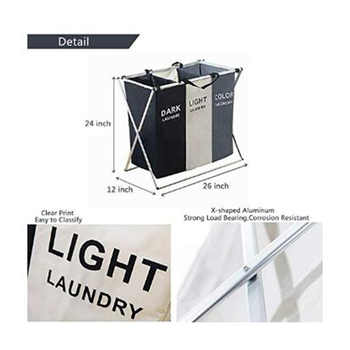 3 Section Collapsible Foldable Laundry Basket Organizer Large Box Storage Laundry Hamper Sorter Dirty Clothes Bag Kids Big Toys