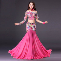 New Belly Dance Costumes Women Sexy Printed Net Yarn Lace Long Skirt Lady Indian Dresses Professional Performance Clothes DN1185