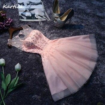 New Bridesmaid Dresses Appliques Pearls Elegant Keyhole Short Bride Gown Ball Prom Party Homecoming/Graduation Formal Dress