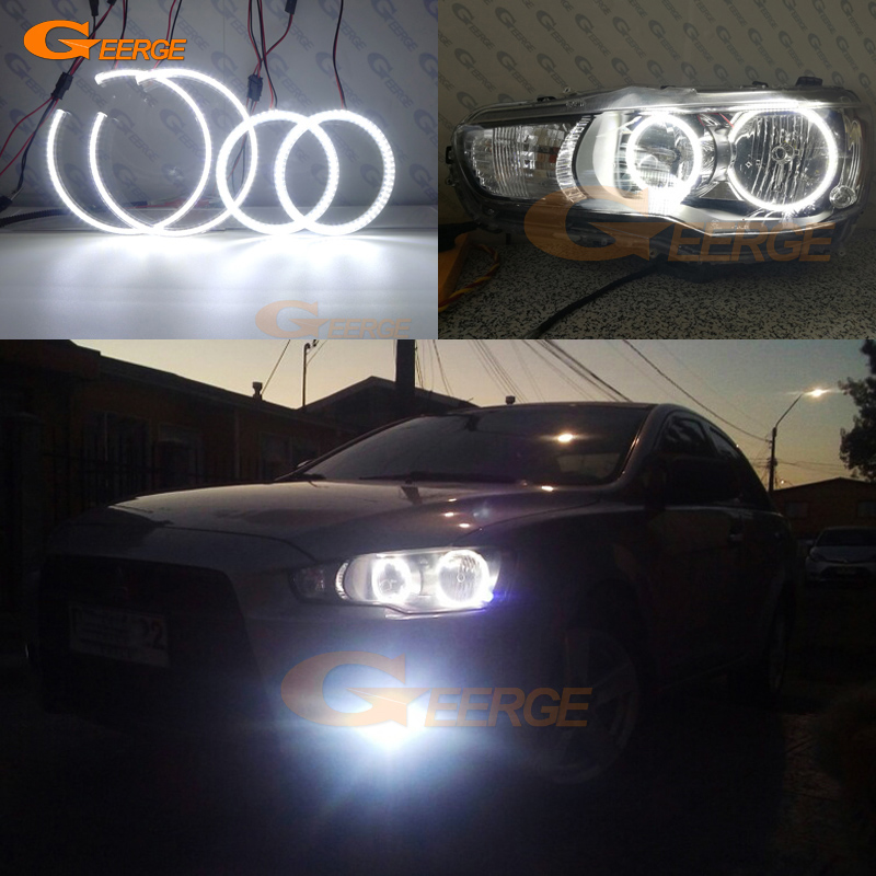 For Mitsubishi Lancer X 10 2007-2016 Halogen headlight Excellent Ultra bright illumination smd led Angel Eyes kit ветровики prestige mitsubishi lancer 10 sd hb 07