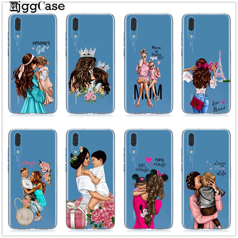 Phone Case Fashion Black Brown Hair Baby Mom Girl For Coque Huawei P20 P30  P10 Lite Mate 20 10 Lite Pro Queen Woman Soft Cover