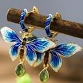 Blue Butterfly Vintage Handmade Enamel 925 Silver Green Jade Stud Earrings