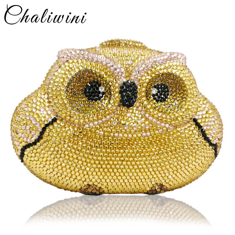 Chaliwini Dazzling Gold Silver Owl Clutch Women Crystal Evening Bag Wedding Cocktail Party Diamond Minaudiere Handbag and Purse bling women silver crystal diamond evening clutch purse handbag wedding party cocktail purse minaudiere bag gold shoulder bags