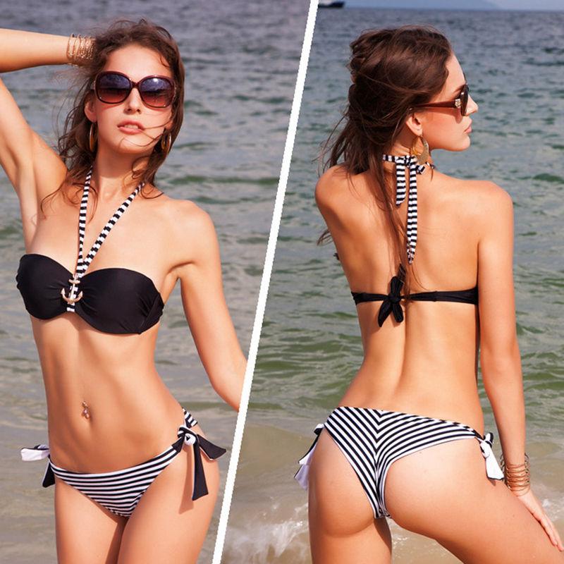 ФОТО 2016 new two-piece bikini swimsuit solid color stripe low-waist sexy lady steel prop gather swimsuit BJN011