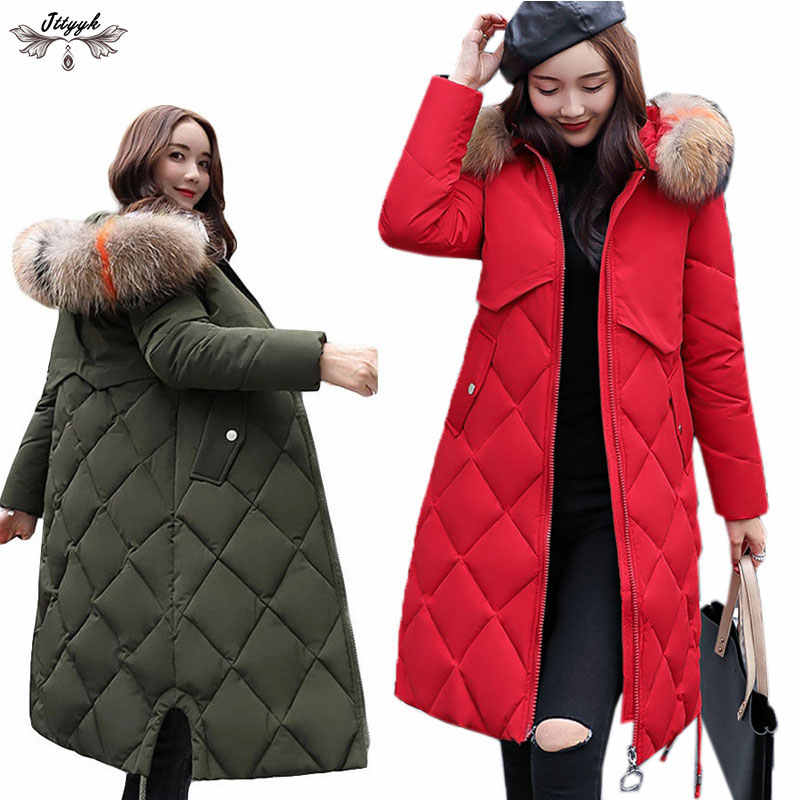 074a5460b1a Natural Real Fur Collar Winter Jackets Women Plus size Warm Cotton Jacket  Long Down Parka Hooded