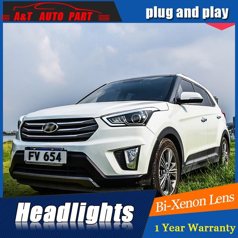 Стайлинга автомобилей для Hyundai ix25 фары для Hyundai ix25 привел глава лампы глаза Ангела Сид DRL передний свет Би-Ксеноновые линзы Ксеноновые