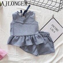 AJLONGER Girls Clothing Sets 2018 New Summer Girls Clothes Sleeveless T-shirt+Shorts 2Pcs Kids Clothing Sets Lattice недорого