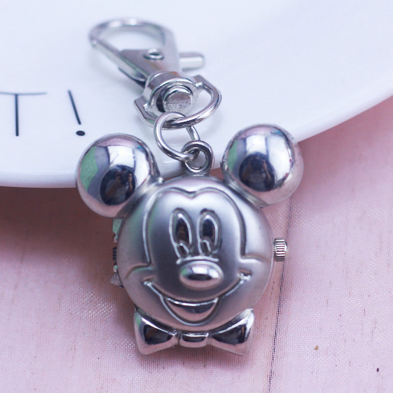NEW Mickey Minnie Shape Cute Lovely Cartoons Pocket Watch Fashion Necklace Quartz Watch With Key Chain