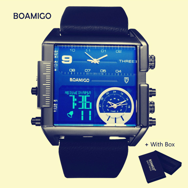 460b74307 العلامة التجارية BOAMIGO ساعة كوارتز الرجال الفاخرة 3 المناطق الزمنية  الرياضة الرجال الساعات الجلود مربع reloj