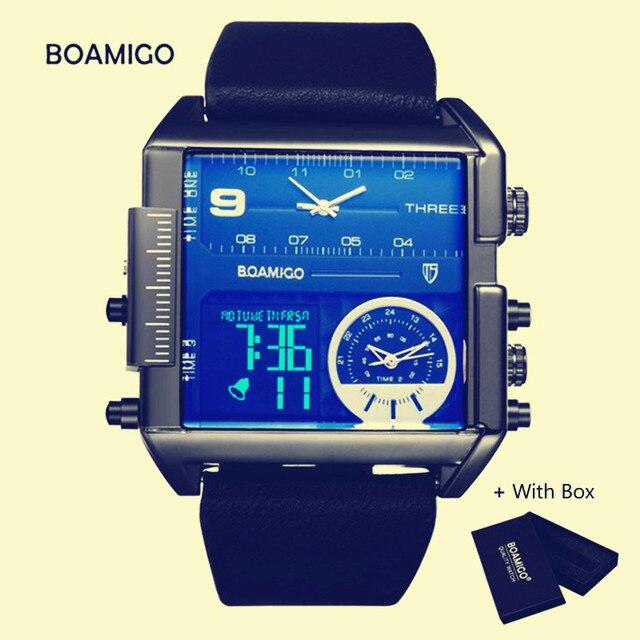 063b5013244 Marca BOAMIGO Relógio de Quartzo Dos Homens De Luxo 3 Fusos horários  Relógios Dos Homens do