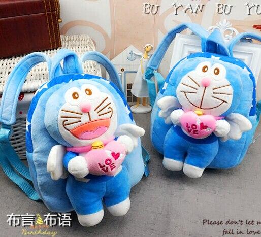 Gift for baby 1pc 23cm cartoon angel Doraemon with heart children high quality plush backpacks Satchel shoulder bag girl boy toy