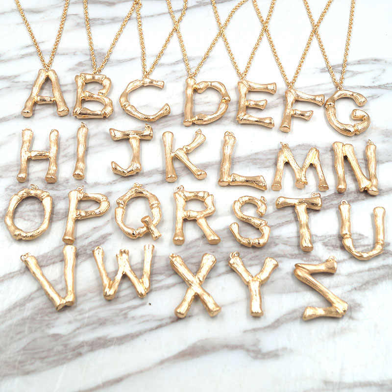new arrival luxury exaggerated metal letter necklace fashion temperament lava bamboo alphabet necklace