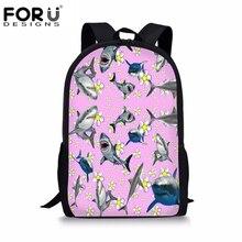 FORUDESIGNS Shark Printing Girls Backpack Kids Soft Bookbag Flower School Bags for Teenagers Shouder Bag Small Travel Rucksacks