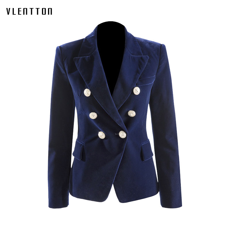 New high quality Fashion office coat woman spring 2019 Long sleeve Blazer Double Breasted Metal button Gold velvet women Jacket-in Blazers from Women's Clothing    1