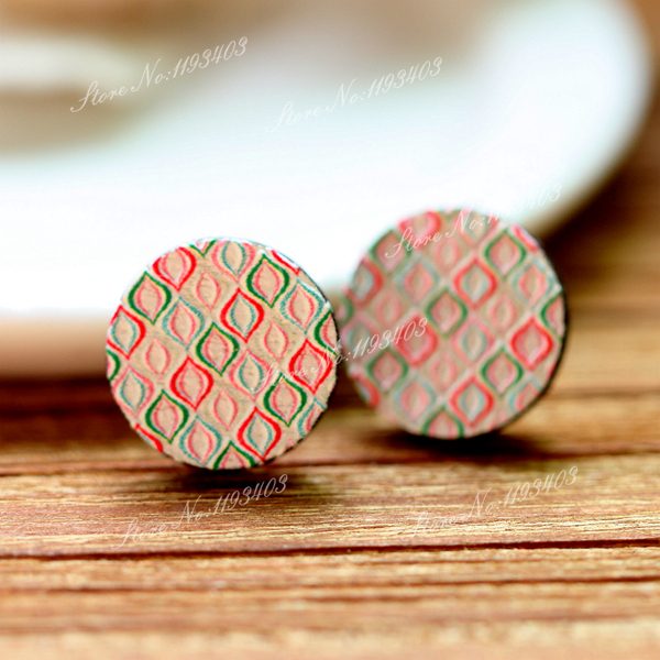 10pcs Unique 3D Embossed 16mm Round Coloured Drawing pattern Laser Cut wood Cabochon DIY for Rings, Earring,Brooch,Necklace