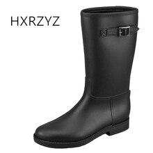 HXRZYZ женщин резиновые сапоги женские черные дождевые сапоги 2017 новая мода пряжка скользкие водонепроницаемые весна / осень женщины обувь