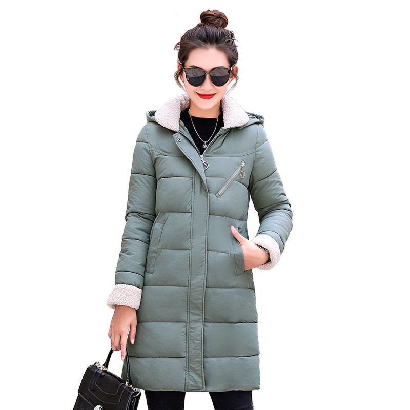 2018 winter   parkas   women Cotton-padded jacket Thicken Hooded tops students coat Plus size long Down cotton jackets female A2290