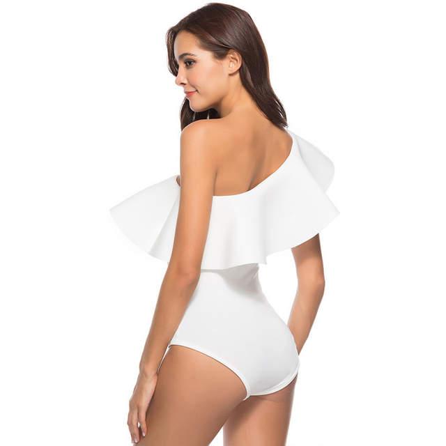 d5e2f19dd2 One Shoulder Ruffle Top Embroidery Sexy Bodysuit Women Black White Skinny  Body Top Summer Elegant Body