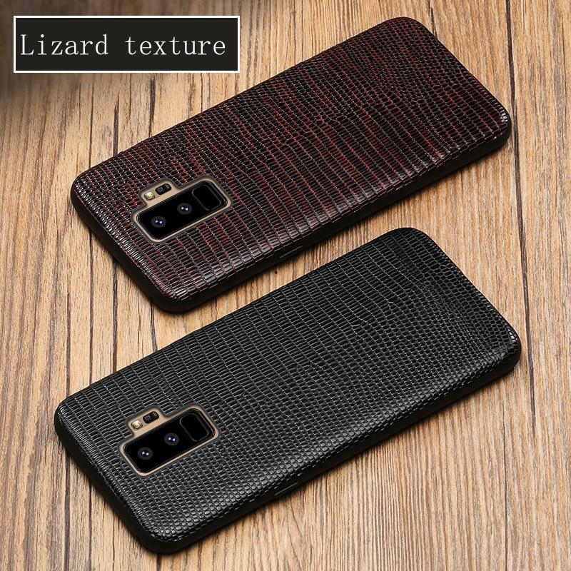 Étui de téléphone Pour Samsung Galaxy S9 Plus S8 S7 Bord Lézard Texture Couverture Arrière Pour A3 A5 A7 A8 J3 j5 J7 2017 Note 8 9 Cas