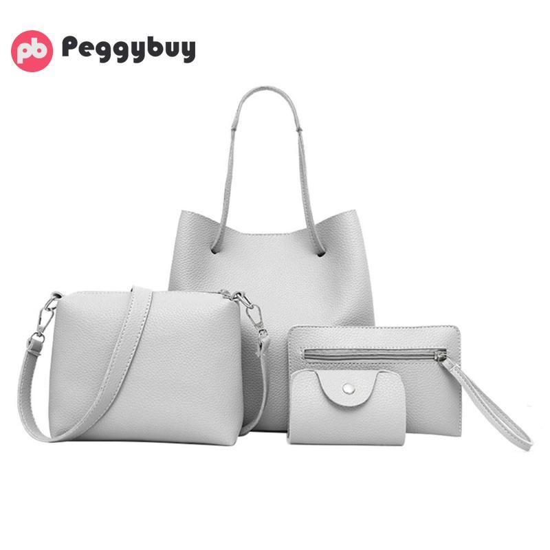 New 4pcs Shoulder Bag in Women's Totes Fashion Women PU Leather Rivet Handbag Crossbody Clutch Bag Bucket Handbags Composite Set