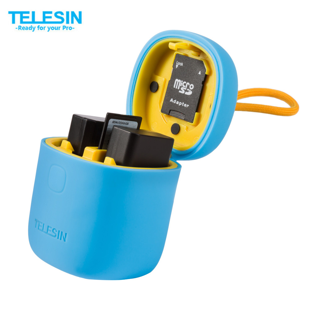TELESIN ALLIN BOX 3in1 Dual Charger SD Card Reader Storage Case 2PCS NPW50 Battery for A6000