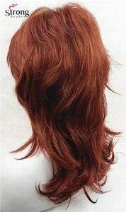 Image 3 - כובע קלאסי אדום ארוך שאגי שכבות נחושת מלא נשים פאה סינתטית פאות של אפשרויות צבע