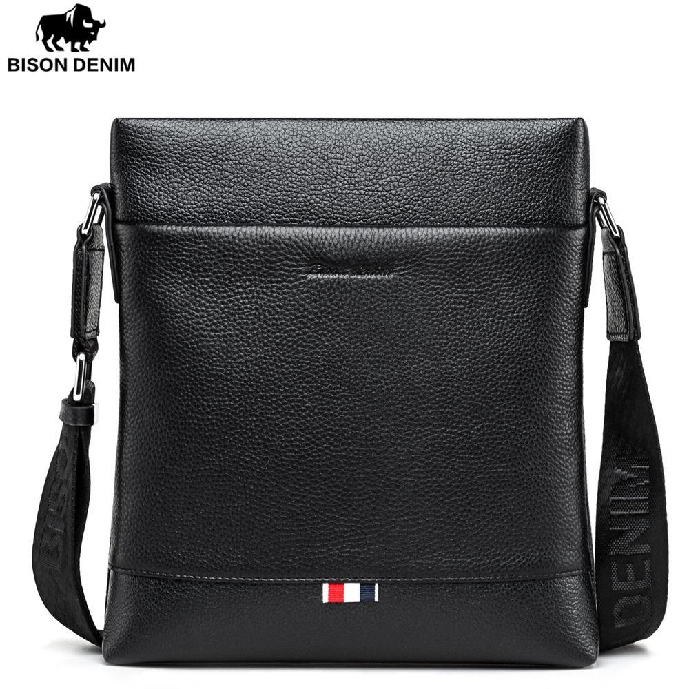 BISON DENIM fashion men bag genuine leather business casual one shoulder crossbody men messenger bags shoulder сумка bison denim n1157 bis0n denim