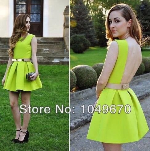 2014 Summer New Designer Cute Mini Casual Neon Green Sleeveless ...