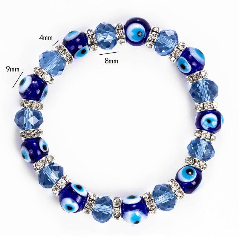 Wish Card Blue Evil Eyes Lucky Glass Beads Bracelet For Women Men Jewelry Horseshoe Turkish Prayer Strand Bracelet Gift EY5226 1
