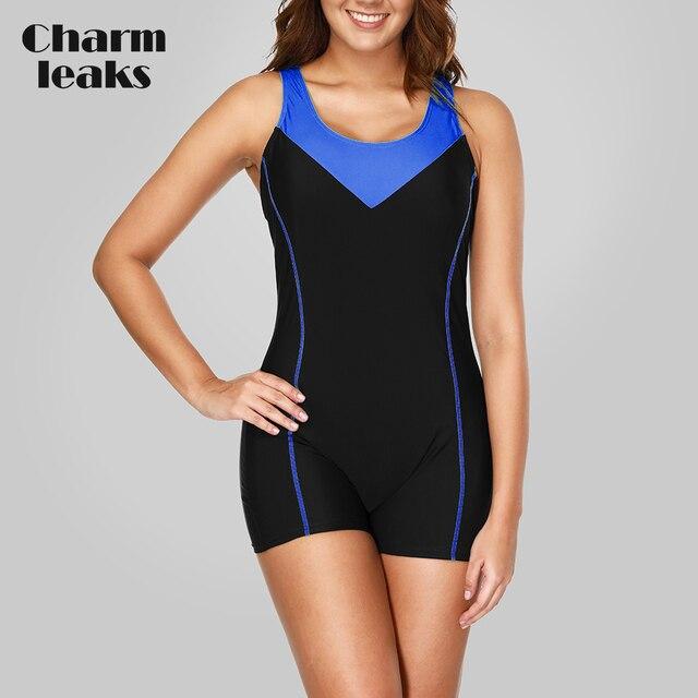 6594b4504d6 Charmleaks One Piece Women Sports Swimwear Sports Swimsuit Patchwork  Competition Swimwear Open Back Boyshort Bathing Suits-in Body Suits from  Sports & ...