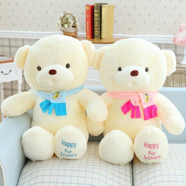 Hot 30 CM Kawaii Pequeno Urso de Pelúcia Brinquedos de Pelúcia Animais De Pelúcia Fofo Bonecas do urso Crianças Macios Brinquedos Colar Vermelho e Azul Arco Presente Das Crianças