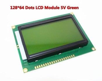 Envío libre 12864 128x64 puntos gráfico verde del contraluz de la exhibición del LCD para la frambuesa pi de arduino