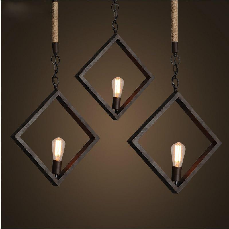 Modern Creative Popular Loft Style Iron And Rope Pendant Light Coffee Shop Restaurant Decoration Light Retro Lamp Free Shipping