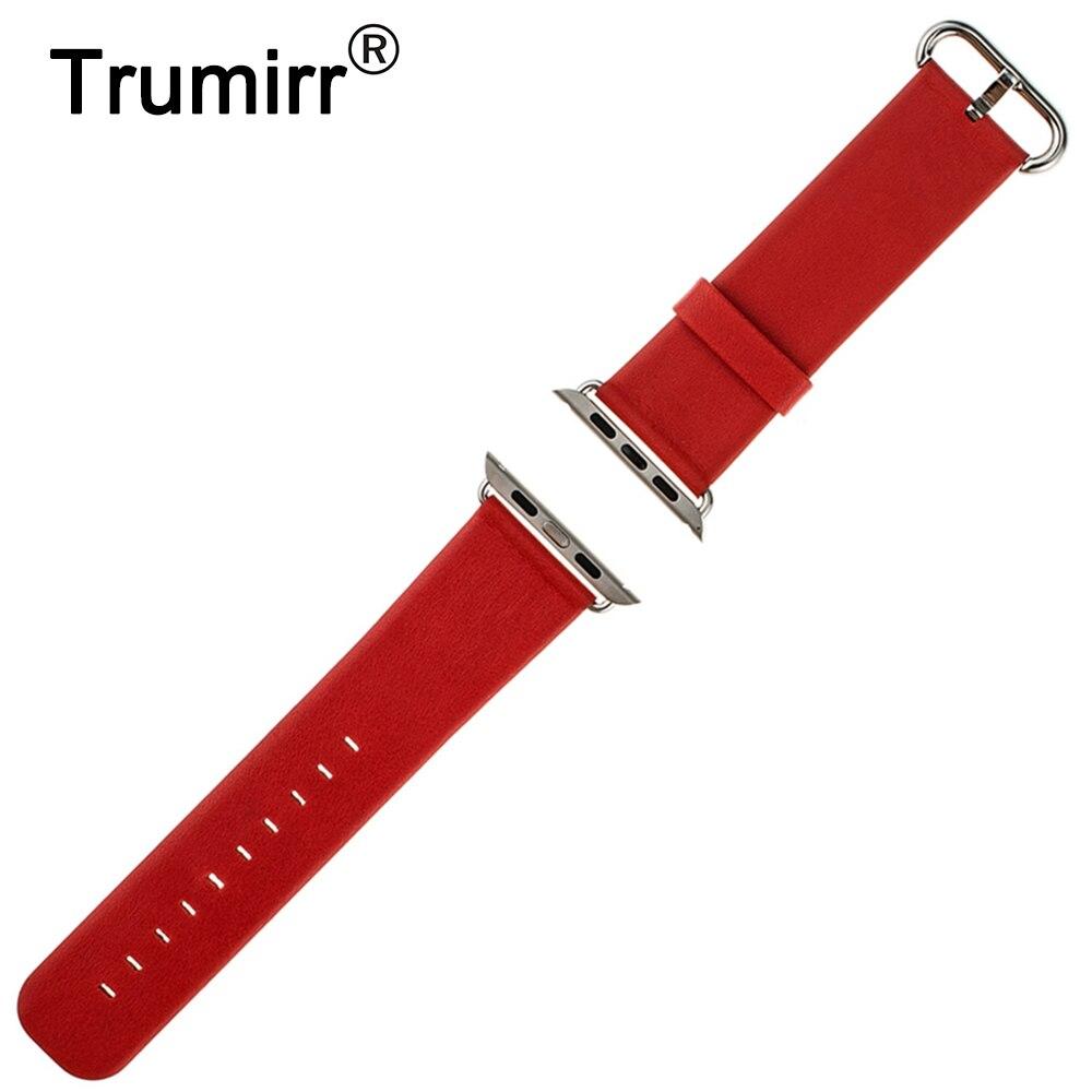 cbecfda58e5 Véritable Bracelet En Cuir 22mm 24mm pour Apple iWatch Montre 38mm 42mm  Remplacement De Courroie De Bande Bracelet avec lien Connecteur Adaptateur