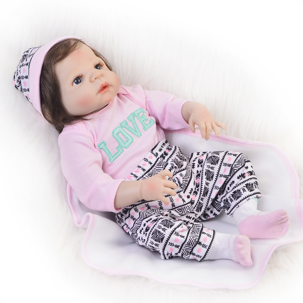 Realistic Reborn Baby Dolls Girl 23 Inch Full Body Silicone Vinyl Lifelike Baby Alive Dolls with Free Bear Playmates For Kids dolls reborn 23 inch lifelike princess girl full silicone vinyl newborn baby doll handmade alive bonecas kids christmas gift