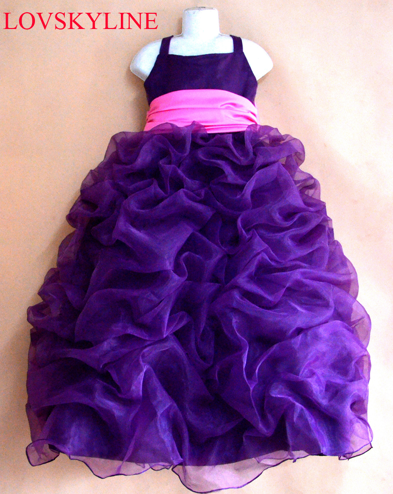 2018   flower     girls     dress   Spaghetti Strap purple big bow princess party   dresses   for weddings kids prom   dresses