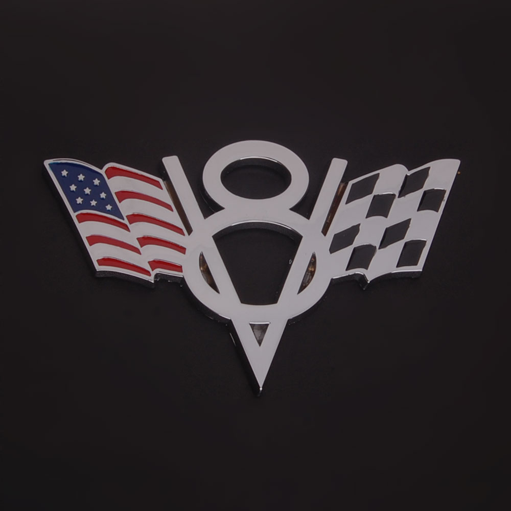 3D Modified USA Flag V8 Symbol Car Auto Metal Alloy Emblem Badge ...