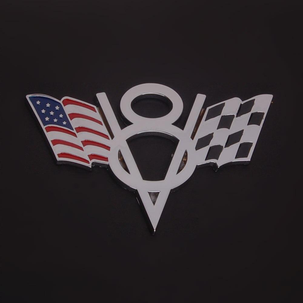 3D Modified USA Flag V8 Symbol Car Auto Metal Alloy Emblem Badge ...