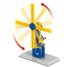 Wange Blocks Scientific Mechanical Crown Gear Windmill Model Building Blocks For Kids Enlighten And Learning Toys