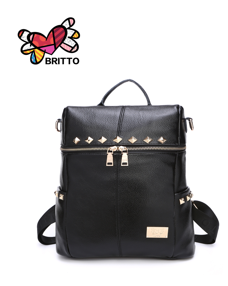 Purchase BRITTO Backpack 2016 Newest Stylish Cool Black PU Leather Backpack Female Hot Sale Women shoulder bag school bags