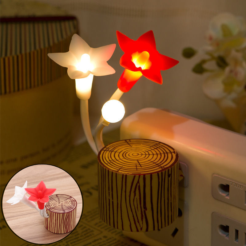 Marvelous 7 Colors Changing Cute Star Flower Shaped LED Light Sensor Night Lamp Wall  Socket Baby Kids Design Inspirations