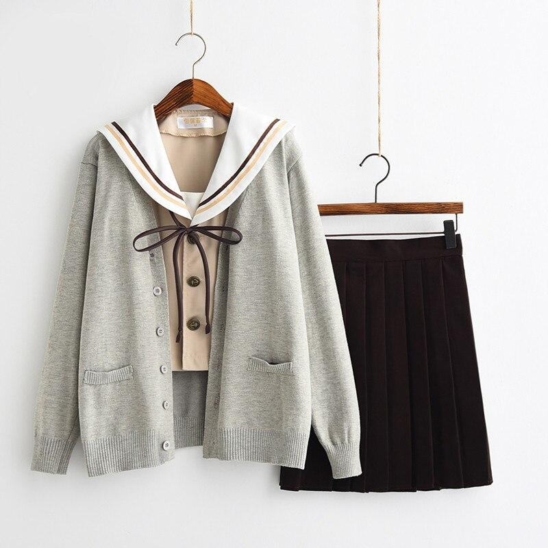 UPHYD New Arrival Japanese JK Sets Long Sleeve Autumn Girls High School Uniform Novelty Sailor Suit Plus Size LYZF100