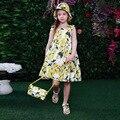 Varejo 2016 Novo kimocat menina Verão limão condoer cinto vestido de princesa 2 pcs Chapéu + vestido de Alta qualidade