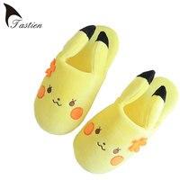 Pikachu Mulheres Homer Chinelos 2017 Novo Inverno Indoor Chinelos Bonito Meninos e Meninas Sapatos Quentes Macios Natal Indoor Chinelos Sapatos