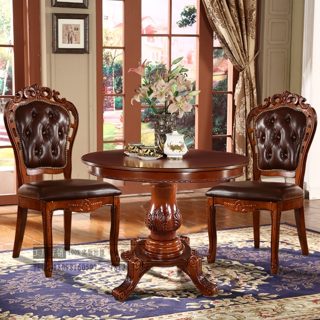 Continental carved wood antique leather chair armchair Mahjong casual hotel  restaurant to discuss the coffee table - Continental Carved Wood Antique Leather Chair Armchair Mahjong