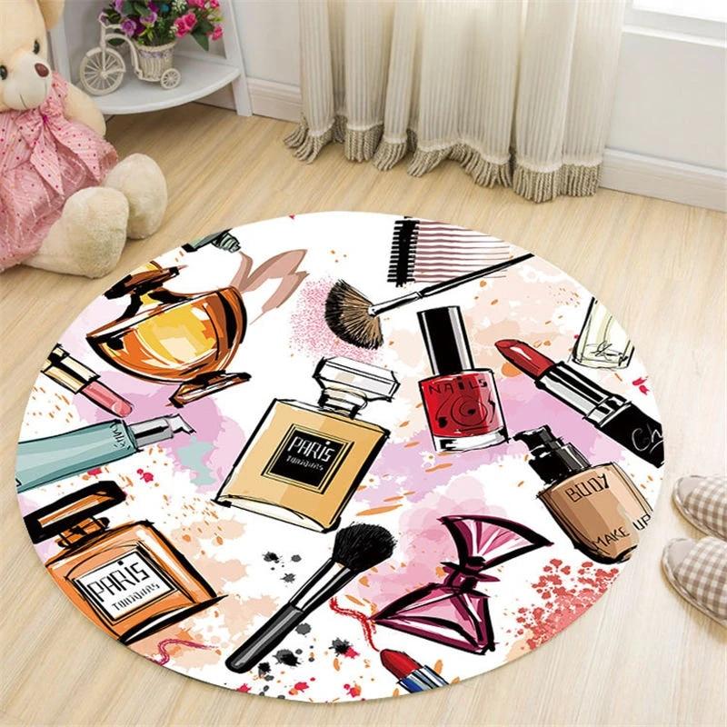 tapis rond cosmetique de style nordique decor de chambre de fille zone de jeu de chevet paillasson de sol de chaise pour salon